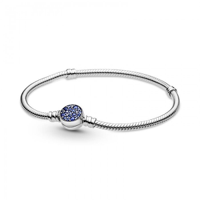 Pulsera Pandora Moments Cadena de Serpiente Disco Azul Brillante 599288C01