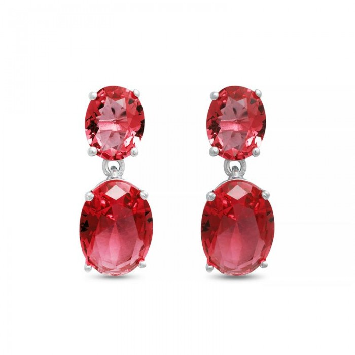 Pendientes Luxenter Khare Mujer Plata y Rubí EF07092800