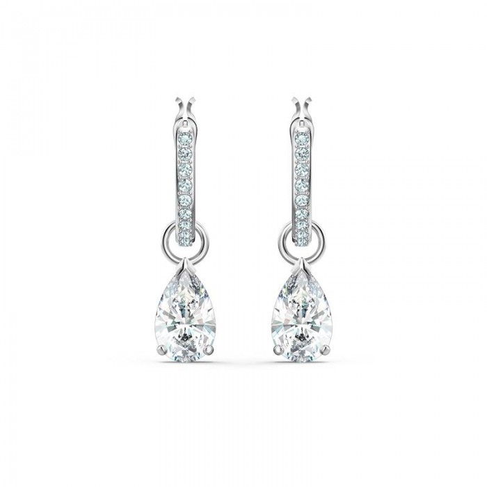 Pendientes Swarovski Aro Attract Pear Mini Baño Rodio 5562084 5563119